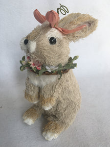 Easter Sisal Medium Bunny Wearing Wreath on Neck and Flower on Head