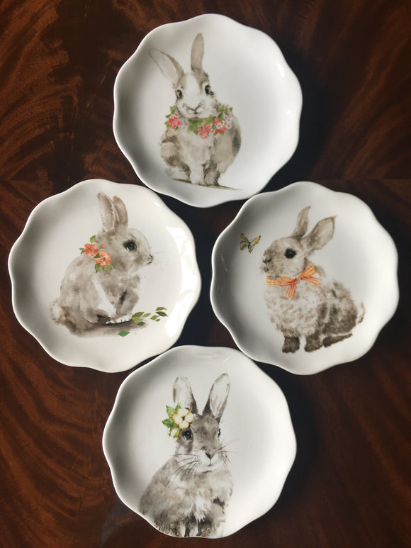 Easter Gray Bunnies Wearing Flowers Set of 4 Porcelain Plates