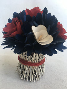 Patriotic Red White and Blue Wood Curled Rosette Flower Arrangement