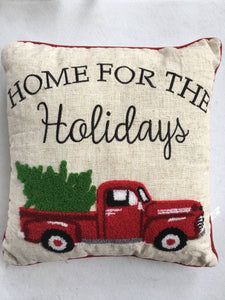 Christmas Home For The Holidays Red Truck Pillow