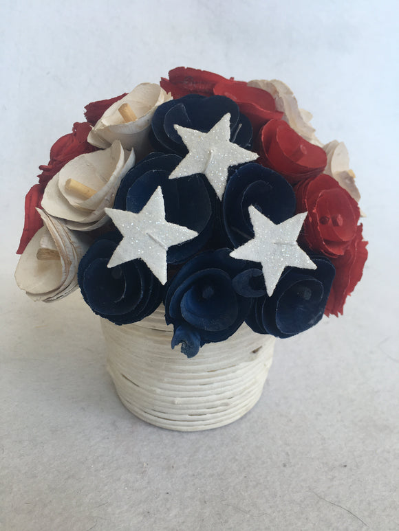 Patriotic Red White and Blue Wood Curled Rosette Flower Display
