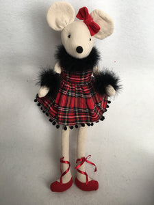 Christmas Plush Red and Black Plaid Girl Mouse