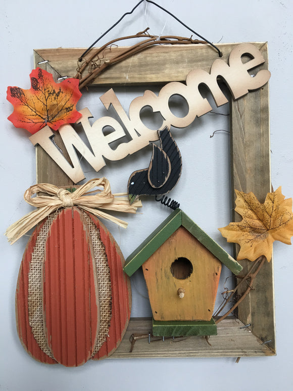 Harvest Welcome Birdhouse, Pumpkin and Crow Wall Hanging