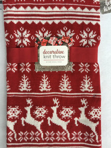 Christmas Reindeer, Snowflake and Trees Knit Throw Blanket