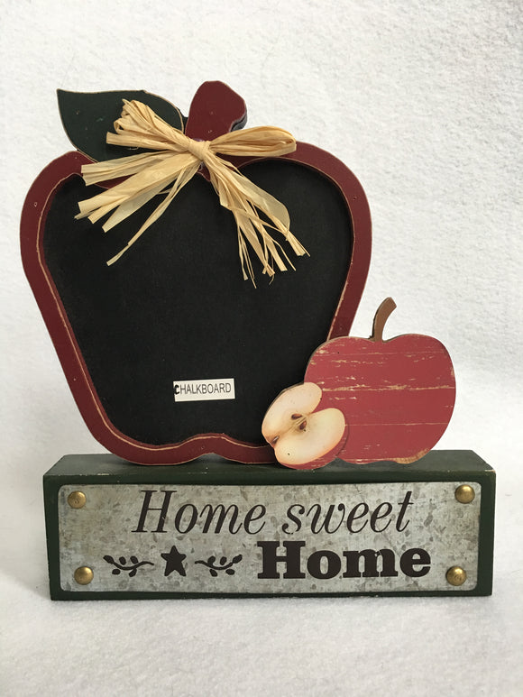 Harvest Home Sweet Home Apple Chalkboard Block Sitter