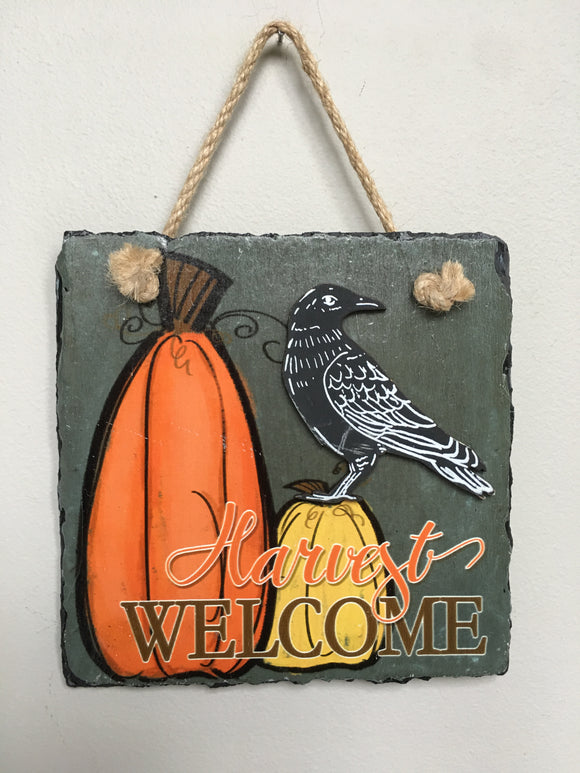 Harvest Welcome Slate Pumpkin and Crow Wall Hanging