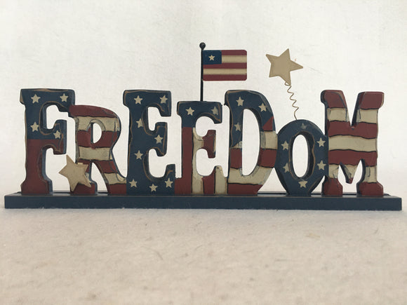 Patriotic Freedom Block Sitter With Stars and Flag