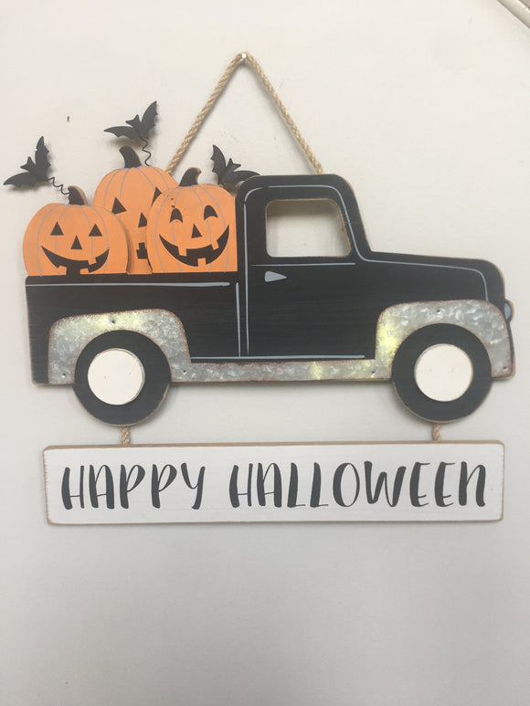 Halloween Solid Wood and Metal Truck Carrying Pumpkins Wall Hanging