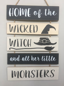 Halloween Solid Wood Witch and Monsters Wall Hanging