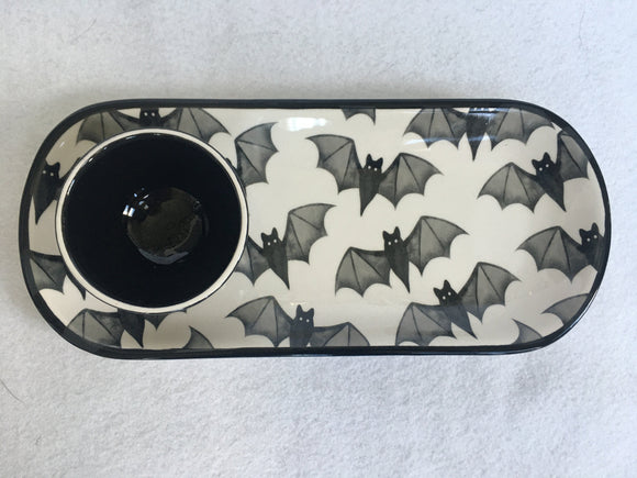 Halloween Flying Black Bats Ceramic Appetizer Plate and Bowl Set