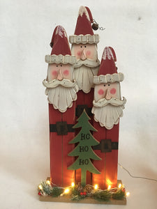 "Christmas Light-Up Three Santas with ""Ho Ho Ho"" Tree Block Sitter"