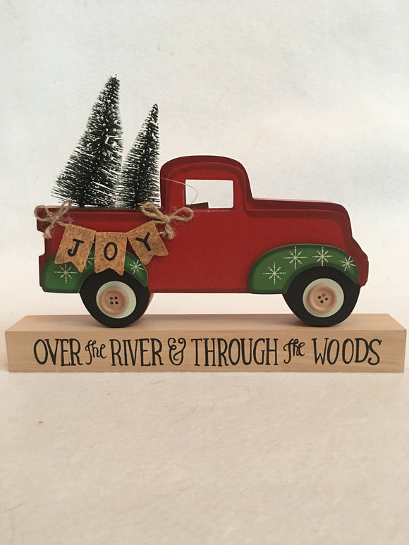 "Christmas ""Over the River and Through the Woods"" Red Truck Carrying Trees Block Sitter"