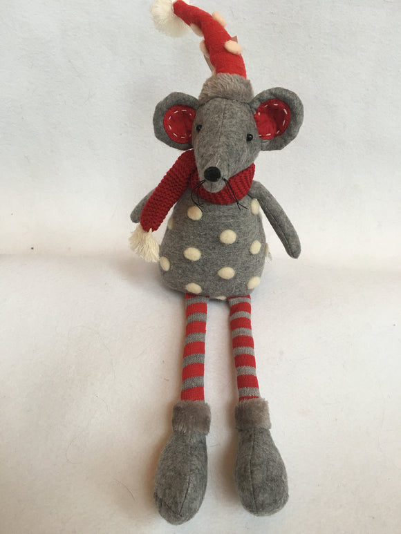 Christmas Red and Gray Plush Mouse with White Snow Ball Sweater and Hat