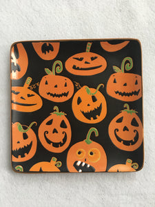 Halloween Smiling Pumpkins Handcrafted Ceramic Plate