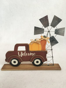 Harvest Welcome Truck Carrying Pumpkins with Wind Mill Block Sitter