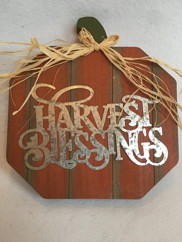 Harvest Blessings Wooden Pumpkin With Stand