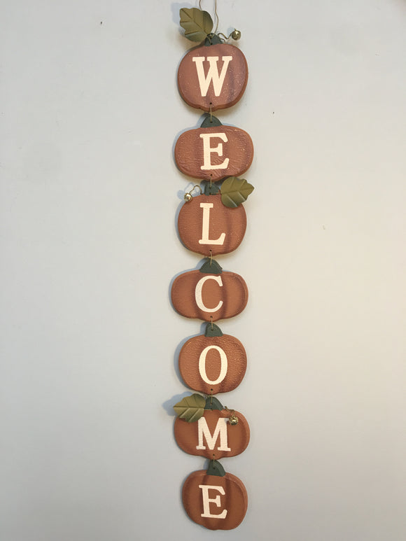 Harvest Welcome Wooden and Metal Pumpkin Wall Hanging