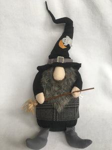 Halloween Giant Witch Gnome With Crescent Moon On Hat