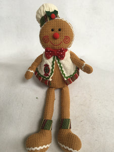 Christmas Sitting Gingerbread Boy or Girl with Long Legs