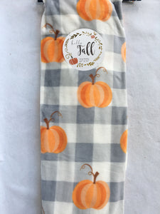 Harvest Pumpkin Gray Check Plush Blanket Throw