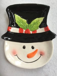 Christmas Smiling Snowman With Hat Spoon Rest