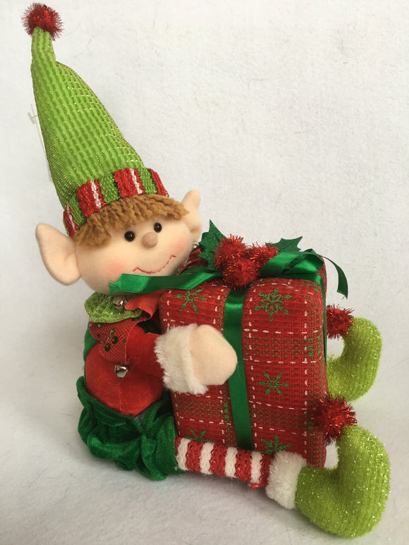 Christmas Sitting Boy Elf Holding Present