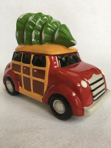 Christmas Car Carrying Tree Ceramic Cookie Jar