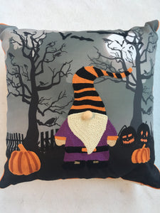 Halloween Gnome in Enchanted Forest Pillow
