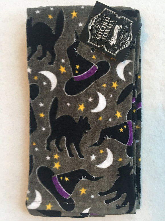 Halloween Black Cats and Witch's Hats Set of Two Kitchen Towels