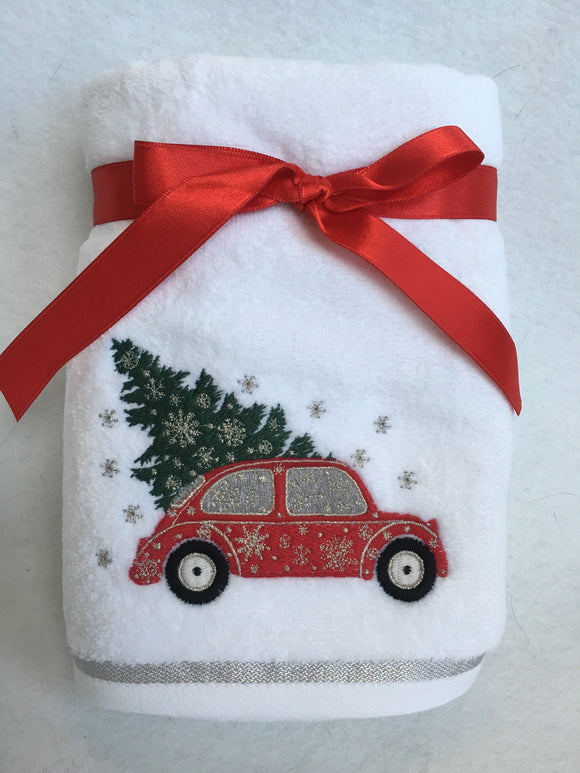 Christmas Red Car Carrying Tree Set of Two Hand Towels