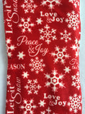 Christmas Red and White Snowflake and Multiple Sayings Plush Sherpa Blanket Throw