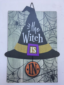 Halloween The Witch is In or Out Sign