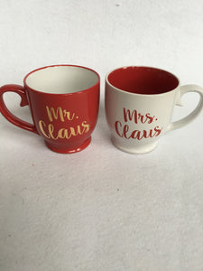 Christmas Red and White Mr. and Mrs. Santa Claus Mugs