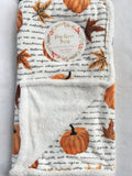 Harvest Leaves and Pumpkins with French Wording Blanket Throw