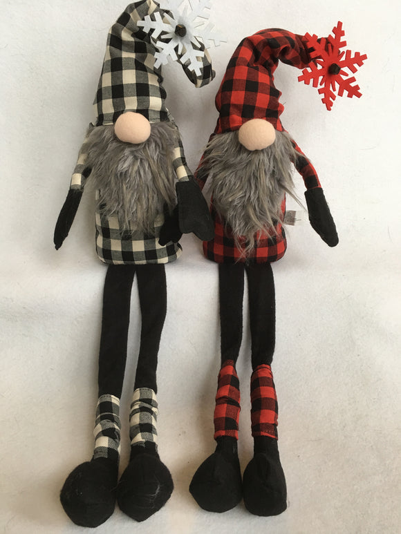 Christmas Red or White and Black Check Santa Gnome With Snowflake
