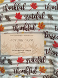 Harvest Gray and White Striped Blanket Throw With Autumn Leaves and Thanksgiving Blessings