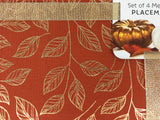 Harvest Gold Metallic Outlined Leaves Set of 4 Placemats