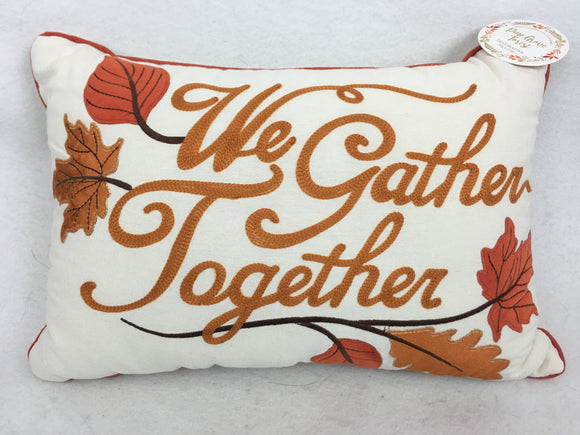 Harvest We Gather Together Embroidered Pillow