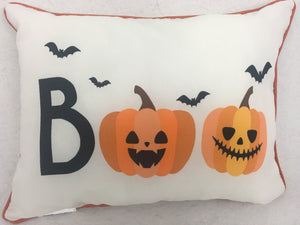 Halloween Indoor or Outdoor Boo Pillow with Bats and Pumpkins
