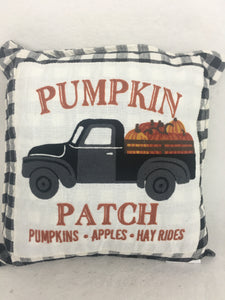 Harvest Embroidered Truck Carrying Pumpkins Pillow