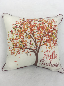 Harvest Indoor or Outdoor Hello Autumn with Colorful Fall Tree Pillow