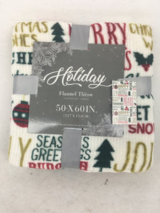 Christmas Holiday Saying Flannel Blanket Throw