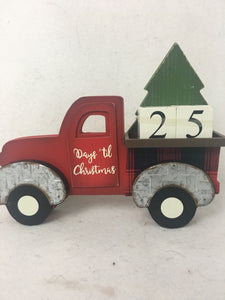 Christmas Red Truck Carrying Tree Countdown to Christmas Block Sitter