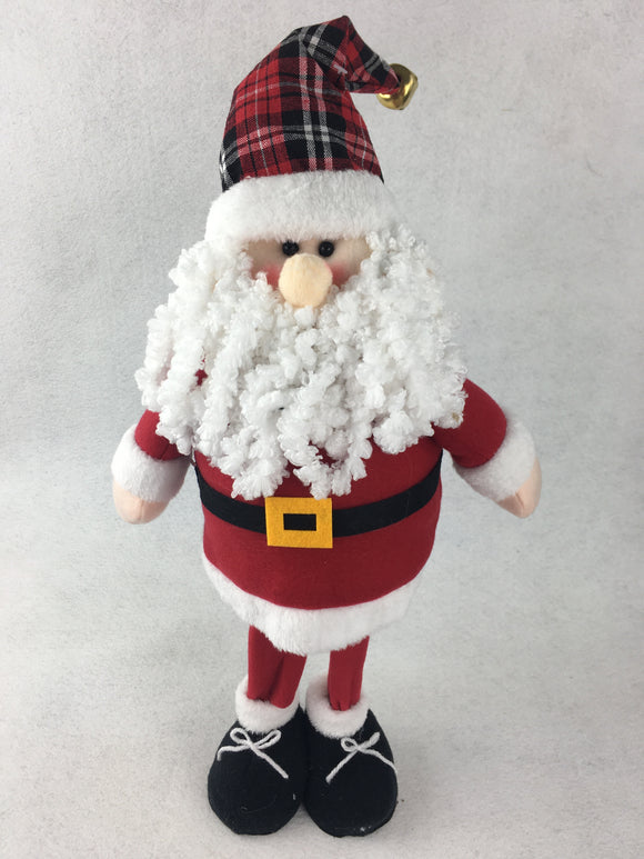 Christmas Standing Bobble Santa with Plaid Hat