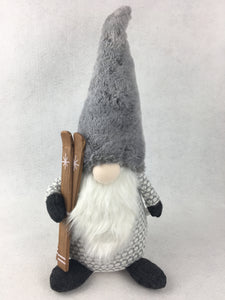 Christmas Large Gnome Holding Set of Skies