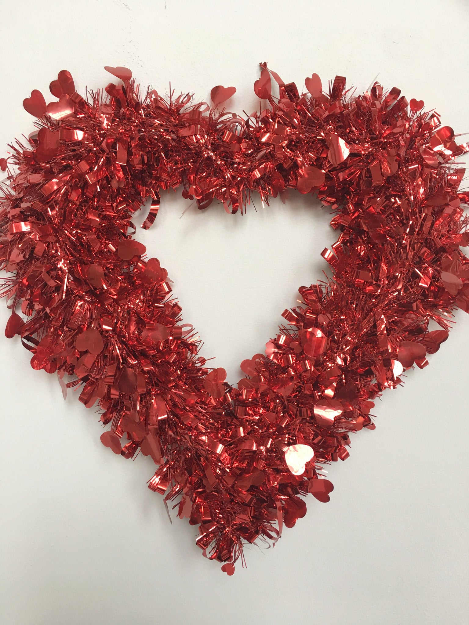 Valentine Red And Pink Or Red Tinsel Heart Wall Hanging Crazeabout