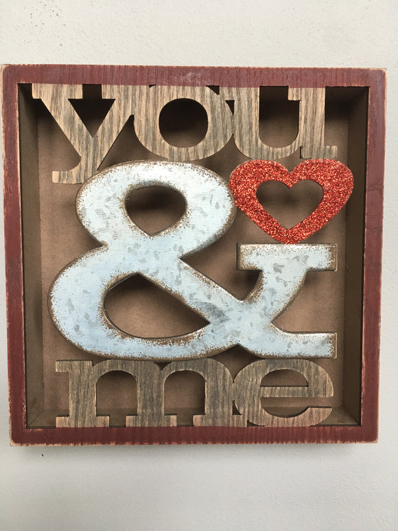Valentine You and Me Shadow Box Block Sitter or Sign