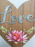 Valentine Wooden Heart With Love Wall Hanging
