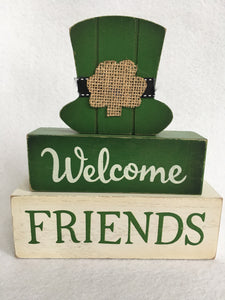 Saint Patrick's Day Welcome Friends Moveable Block Sitter