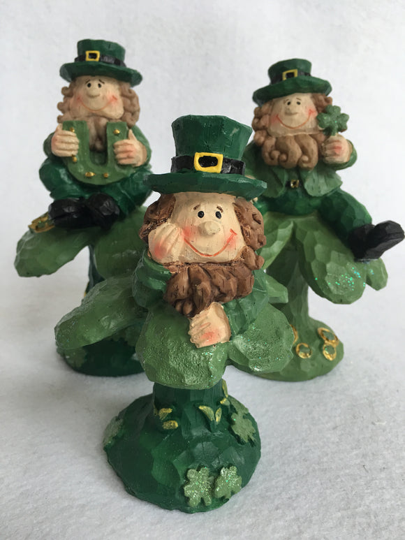 Saint Patrick's Day Leprechauns Sitting on Shamrocks Figures